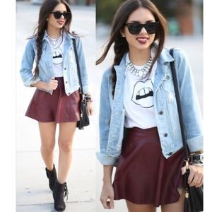 Maroon Abercrombie & Fitch vegan leather skirt